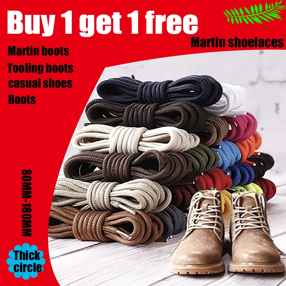 1Pair Shoe Laces Boots Shoelaces High-Top Rhubarb Tooling Shoes Cotton  Linen Thick Black Brown Leather