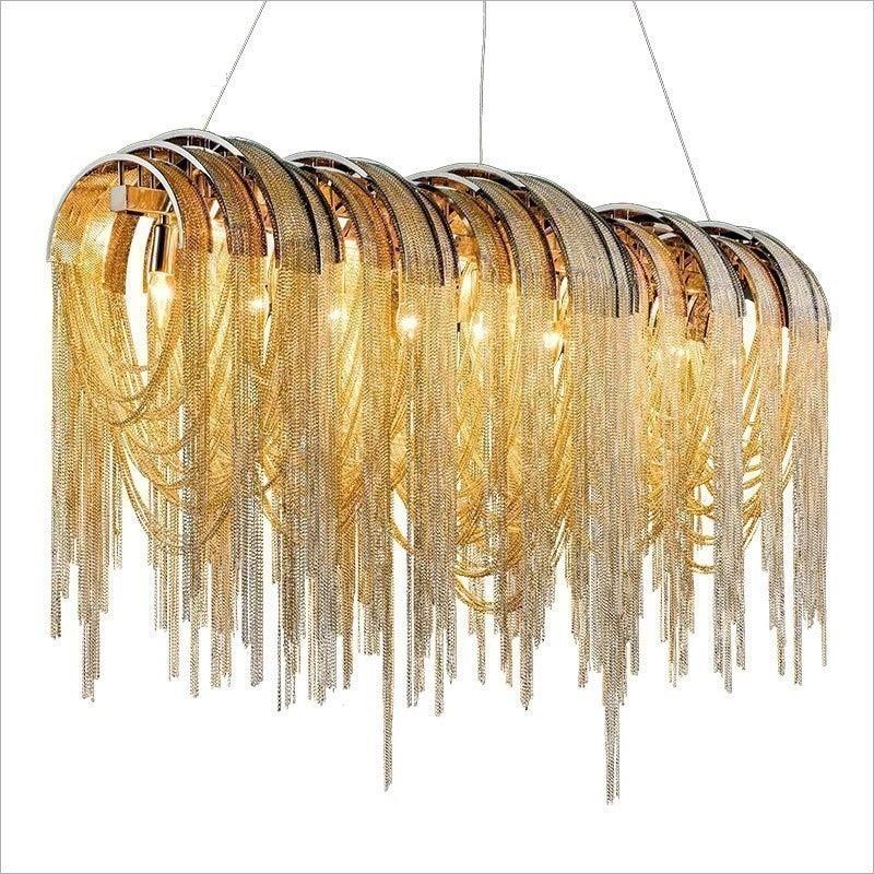 إيطاليا الثريا تعليق الإنارة طول 90 سنتيمتر 110 سنتيمتر 130 سنتيمتر الألومنيوم سلسلة الثريا ل فيلا مخزن مطعم Droplight