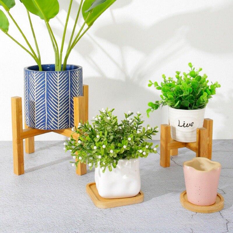 Soporte de madera para plantas, maceta, maceta, soporte para flores, contenedor, estante para decoración interior y exterior