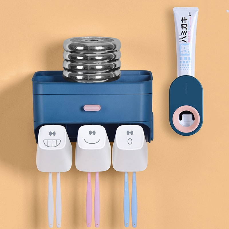 Nanjibao Free Punching Bathroom Toothbrush Holder Rack Wall Hanging Toothbrushing Cup Wall-Mounted Toothbrush Mouthwash Cup Set enlarge