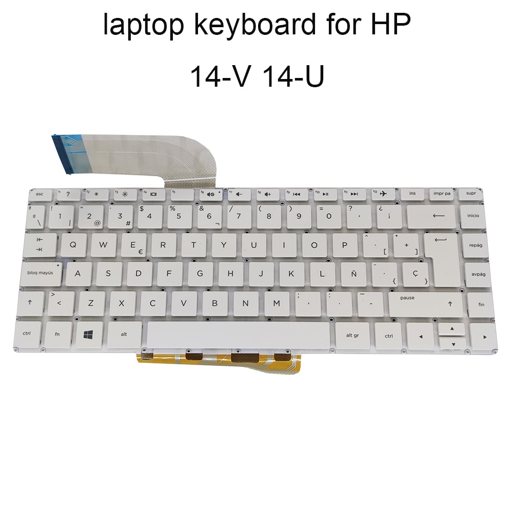 لوحات مفاتيح بديلة رائعة لجهاز HP Pavilion 14-V V006LA V034TX 14-p 14T-U 14-U أبيض بدون إضاءة خلفية SP إسباني ES مفتاح إدخال كبير جديد