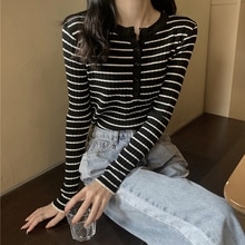 Striped Sweater 2020 New Women's Spring and Autumn All-Match Long Sleeve Slim Bottoming Shirt Inner