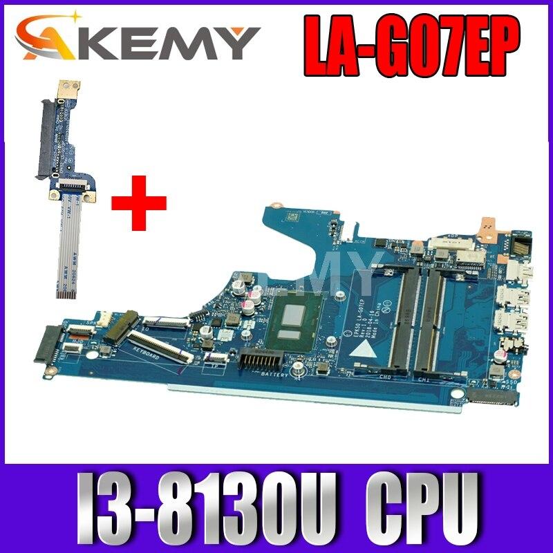 AKemy para HP 15-DA placa base de computadora portátil I3-8130u CPU 2,2 ghz L20374-001 L20374-601 EPK50 LA-G07EP DDR4