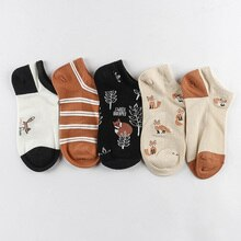 5Pairs/Set Women Socks Fox Flamingo Cute Animals Cotton Short Socks Female Casual Funny Socks Spring Summer Sock Sokken