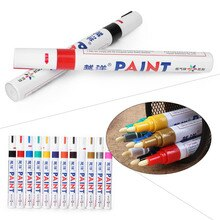 Rotulador de pintura permanente resistente al agua para coche, bolígrafos de goma para pintura de Metal, 12 colores, 1 unidad