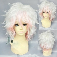 Danganronpa Dangan Ronpa Nagito Komaeda Wig Short Curly Heat Resistant Synthetic Hair Wigs + Wig Cap