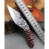 vg10 damascus steel pocket knife edc tactical tool hunting survival folding blade knife utility camping self defense knives mini