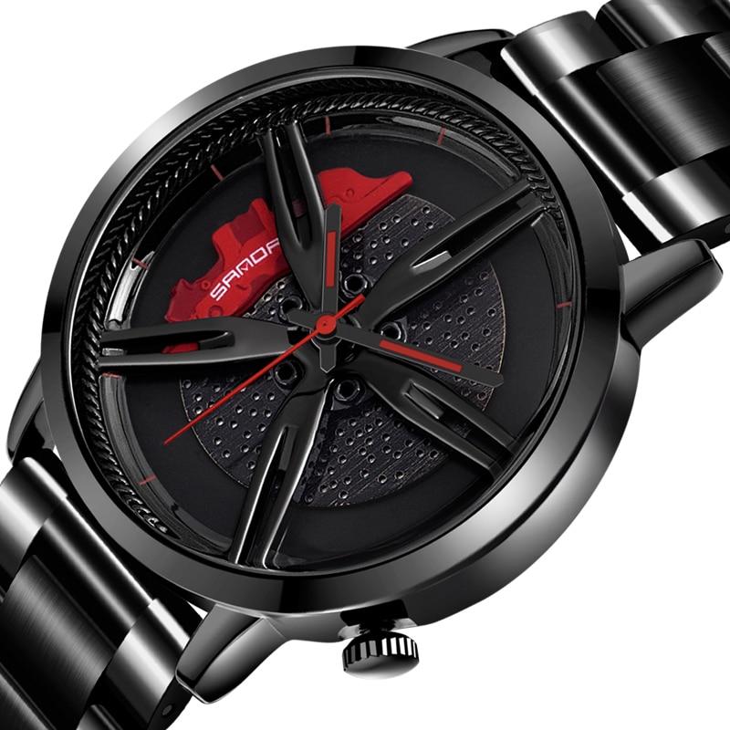 ساعة رجالية مقاومة للماء ، إطار عجلة السيارة ، قرص المحور ، ساعة يد رجالية سوداء رائعة ، شبكة من الفولاذ المقاوم للصدأ ، كوارتز ، Relogio Masculino