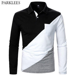 Patchwork Polo Shirt Men Brand New Striped Pocket Mens Polo Homme Casual Slim Fit Long Sleeve Camisas de Hombre Male Jersey Tops
