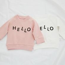 Autumn Children's Hoodies Cotton T Shirt Boys Letter Hello Printed 6-24M Infant Children Newborn Boys and Girls Sweatshirt