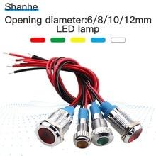 6mm 8mm 10mm 12mm luz indicadora de led 3V 5-6V 12V 24V 220V lámpara de señal con cable a menudo funciona con interruptor de botón