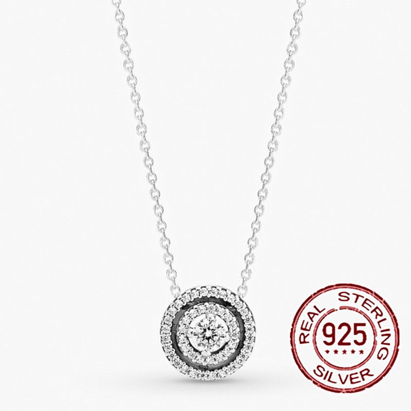 HOT Sale 925 Sterling Silver Classic Pendant Double Round Necklace Chain Jewelry Gift Making