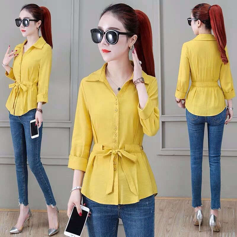 Turn-down Collar Solid Casual Women's Blouses Shirt Spring Summer Style Lady Long Sleeve Loose Tops