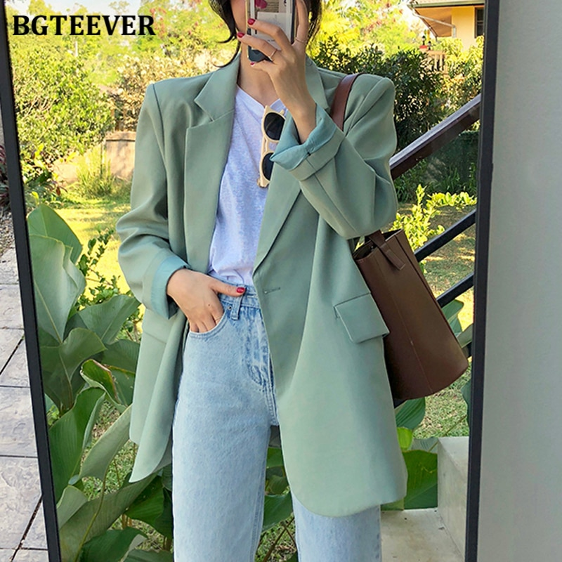 BGTEEVER Chic Loose Light Green Women Blazer Summer One Button Female Suit Jacket Full Sleeve Outwea