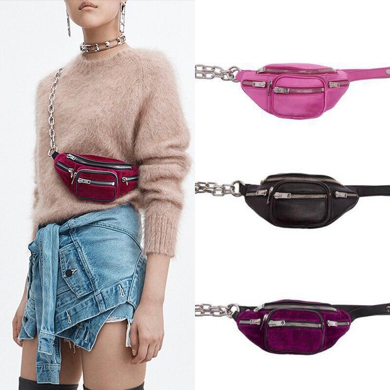 Brand Fanny Packs Velvet Waist Bag Money Phone Pouch Zipper Leg Chest Bag Women Men Messenger Belt Bags Purses Small Chains Bags