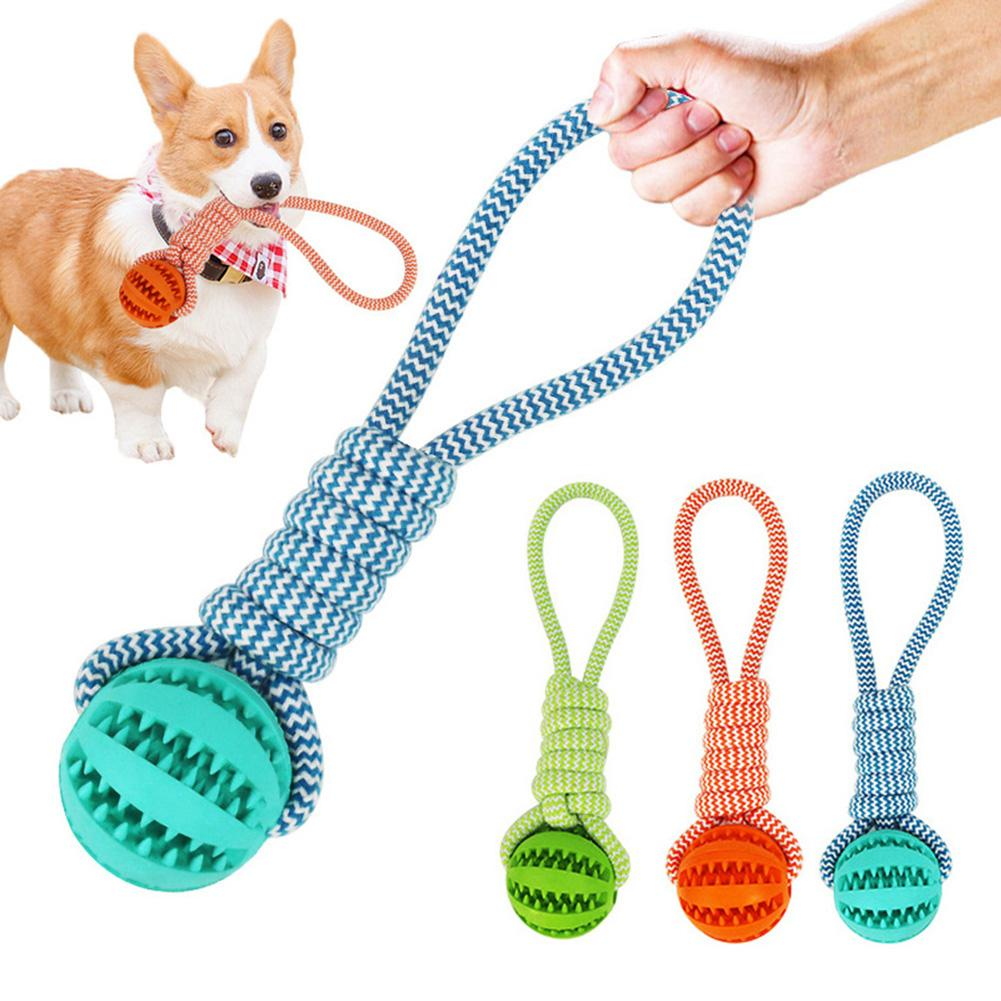 1PC Pet Dog Puppy Cotton Rope Leakage Food Ball Molar Bite Resistant Chew Play Toy Rubber Clean Their Teeth Pets Supplies