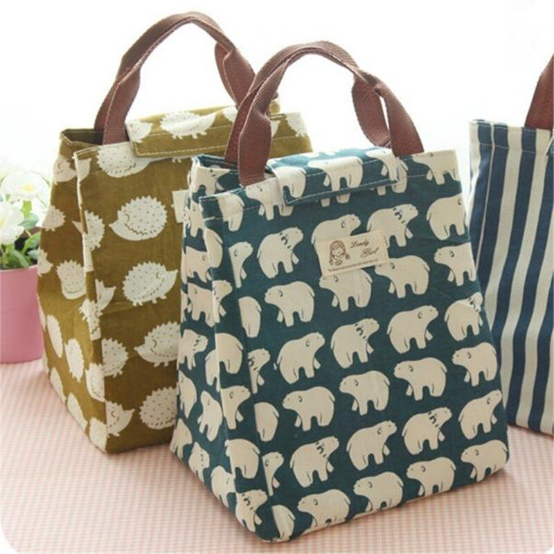 2021 Waterproof Lunch Bag For Women Cooler Lunch Box Bag Tote Canvas Lunch Bag Insulation Package Portable Thermal Lunch Bag недорого