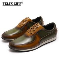 Мужские повседневные туфли из натуральной кожи, оксфорды, расписанные вручную, коричневые, зеленые, на шнуровке, мужские туфли на плоской по...