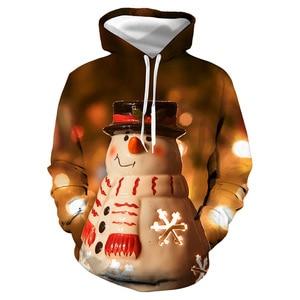 Unisex Christmas Snowman 3D Digital Print Loose Hooded Sweater Pullover Women Men Xmas New Year Baseball Sweatshirt Hoodie