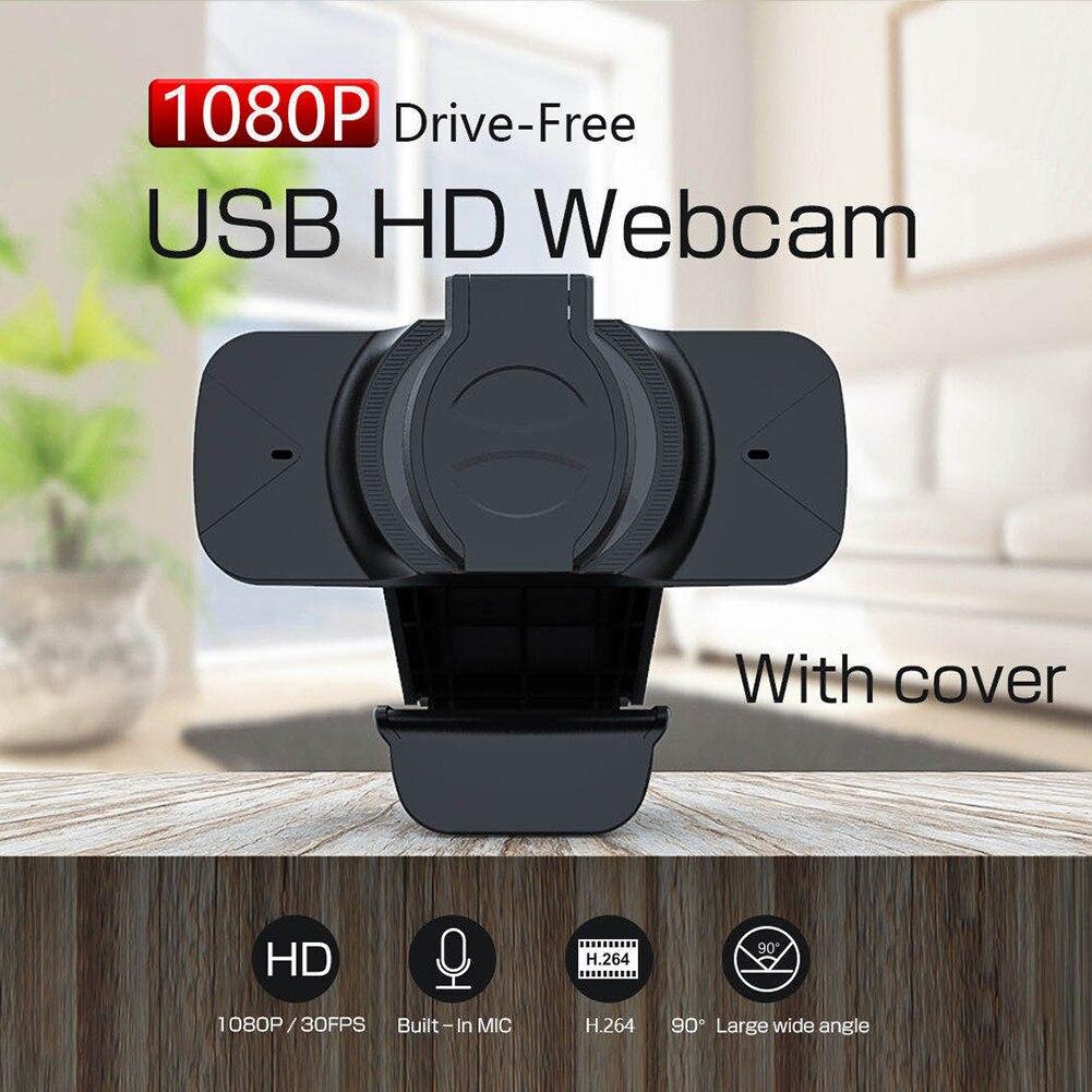 Cámara Web de 2MP, Full HD, 1080P, con cubierta de privacidad incorporada, micrófono USB, controlador, cámara Web gratuita para ordenador