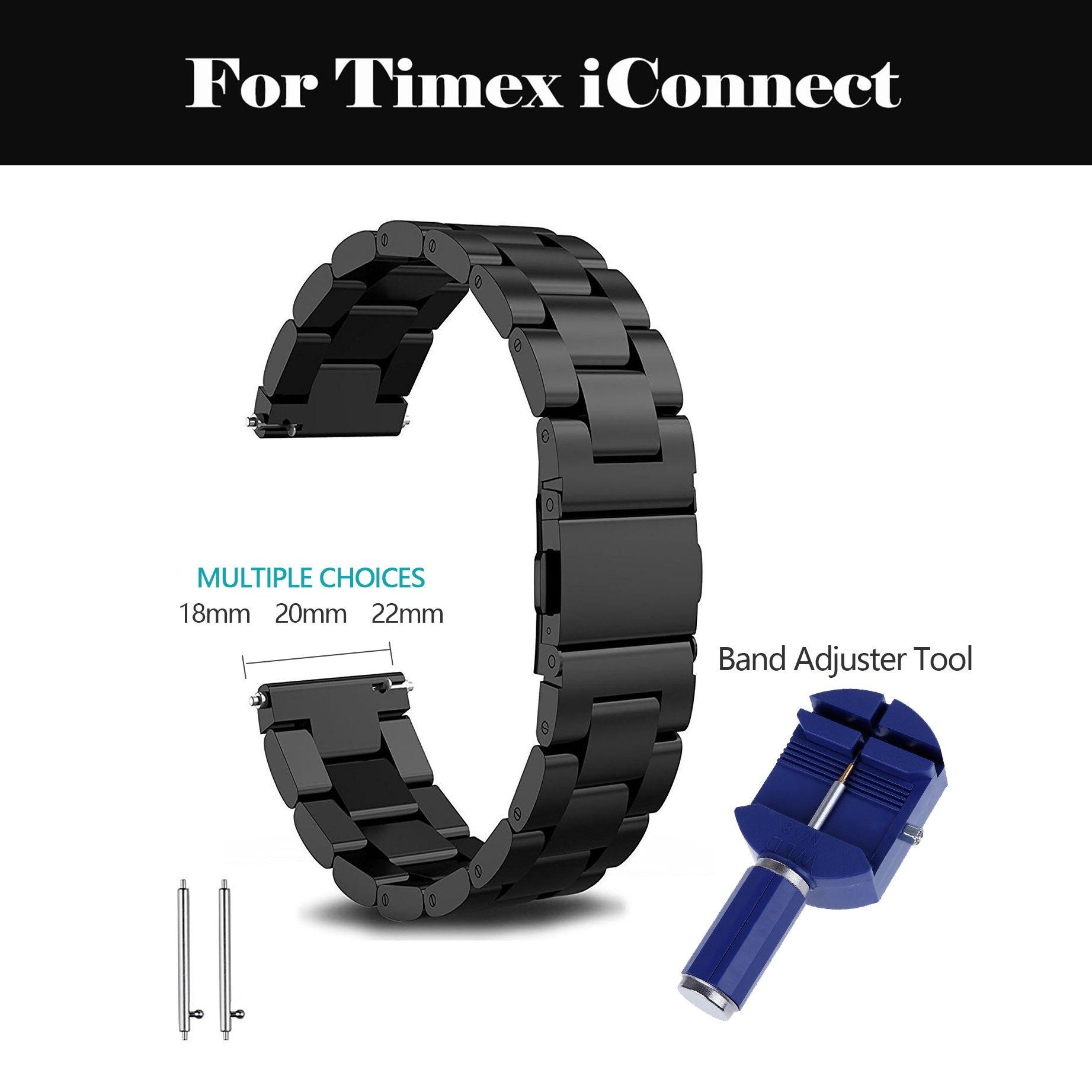 22 20mm correa de reloj de acero inoxidable correa de reloj deportiva clásica fácil de correa de repuesto para reloj Metal para Timex iConnect