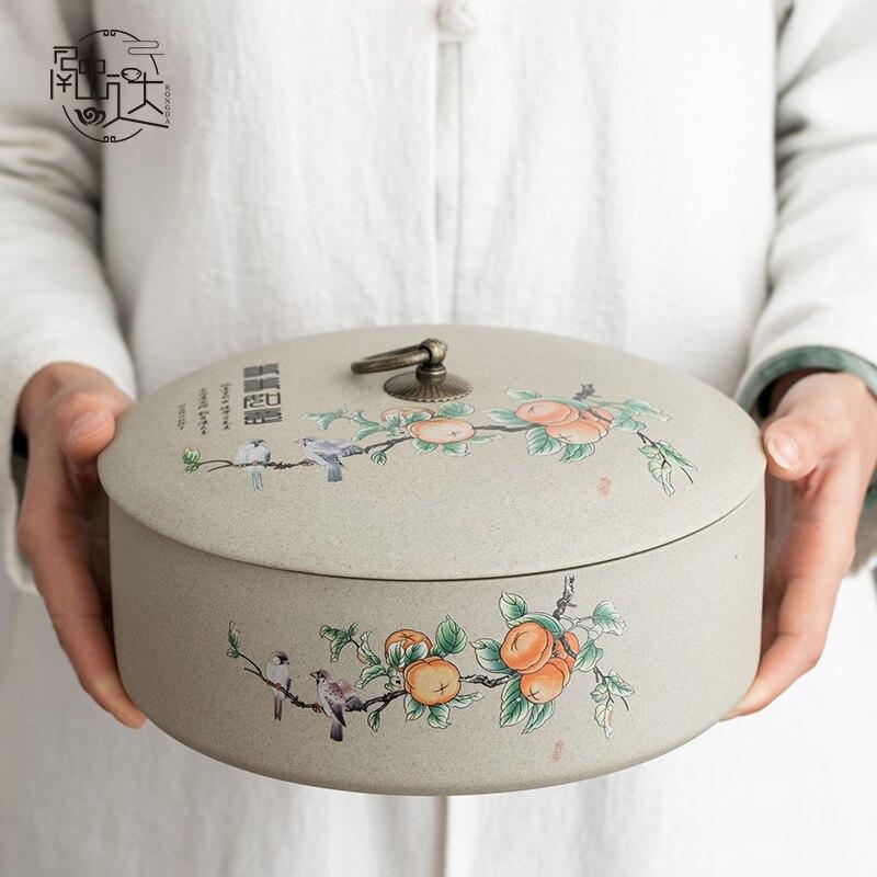 الصينية الرجعية علبة شاي الشاي كعكة صندوق تخزين متعددة الوظائف خزان رطوبة علبة شاي شاي سيراميك علبة شاي رائعة تصميم