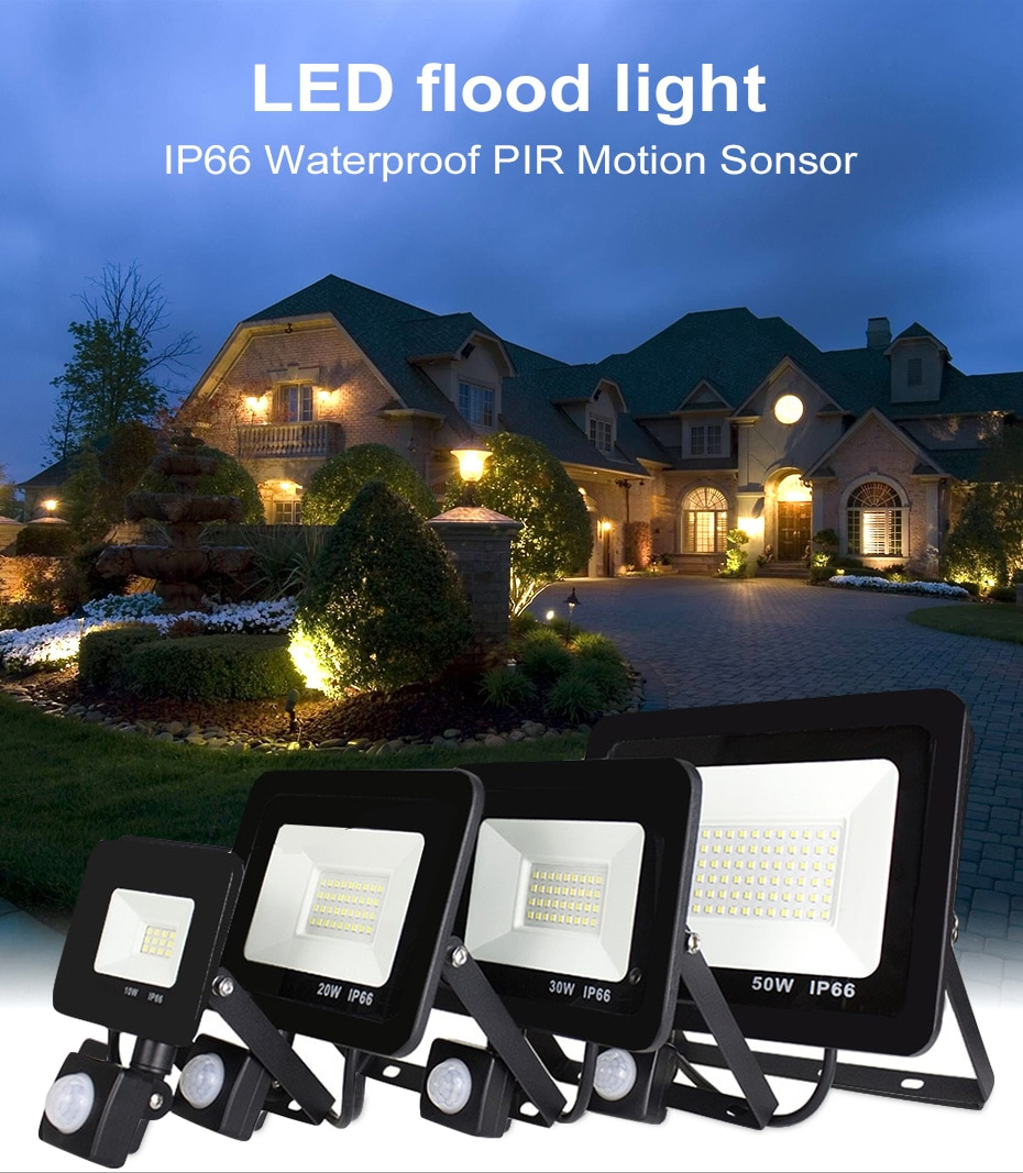10W 20W 30W 50W 100w 150w 200w garden search Wall lamp led flood light outdoor projector Landscape PIR Motion sensor light AC220 недорого