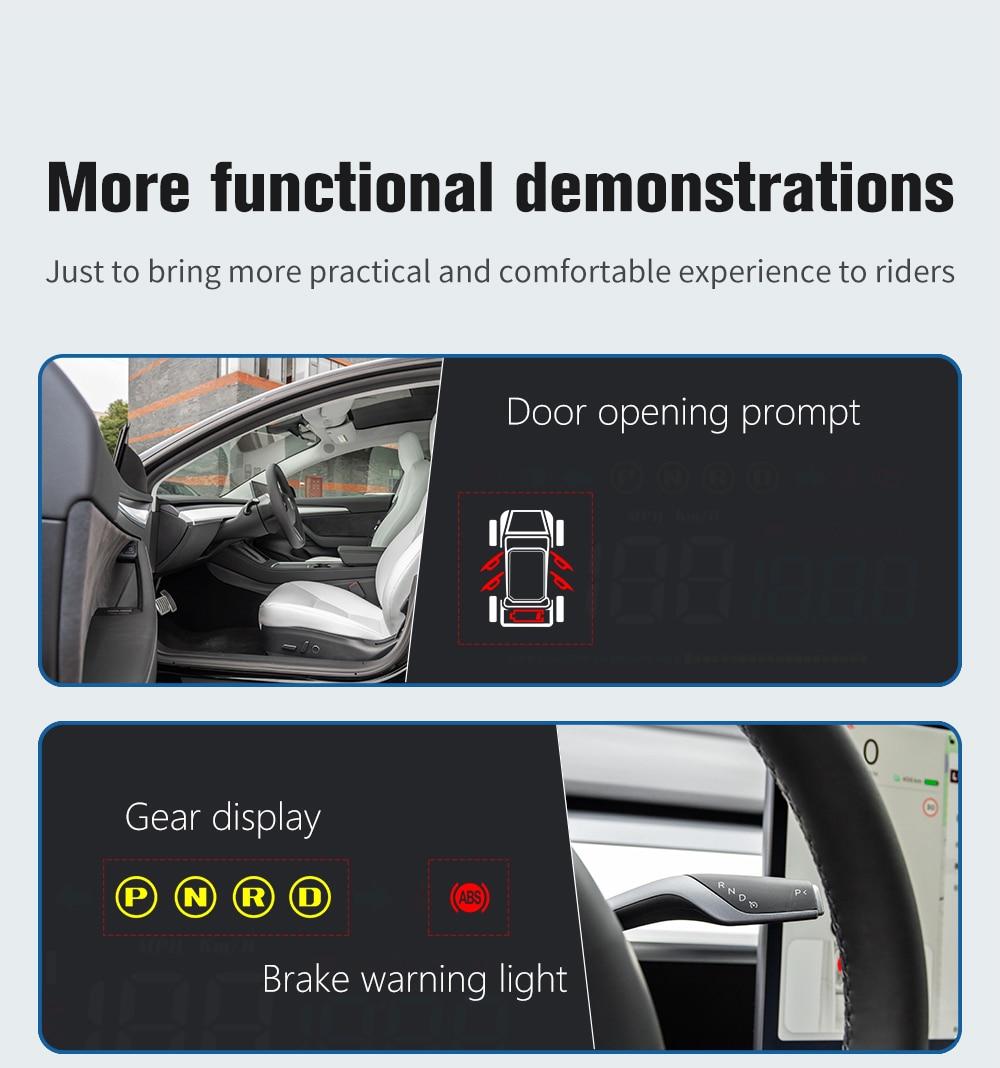 HUD Display, Driver, Tesla Model 3 Model Y, Speed, Mileage, Safety Indicator, Driving Time Indicator System, Modification enlarge