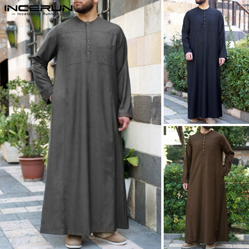 INCERUN hombres musulmán islámico Kaftan Jubba Thobe Vintage Color sólido bolsillos de manga larga árabe Dubai Medio Oriente hombres trajes 2019