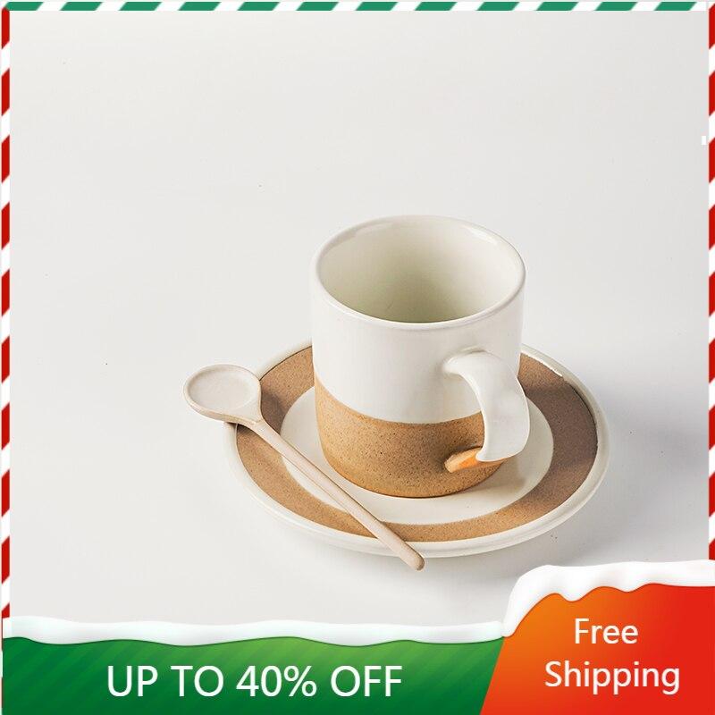 Taza de café creativa mate, Vaso de cerámica de arte japonés minimalista, juego de té Vintage, vajilla Plegable AA50BD