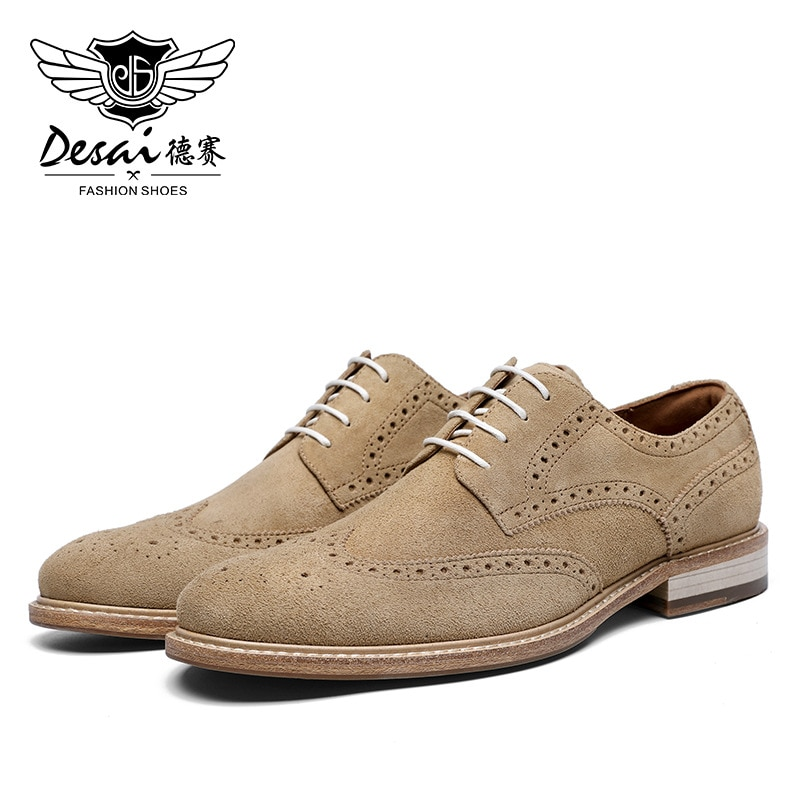 Desai حقيقية ديربي حذاء رجالي جلد البقر المدبوغ الخريف الشتاء البروغ أحذية جلدية رجالية عادية الذكور فستان أحذية 2021