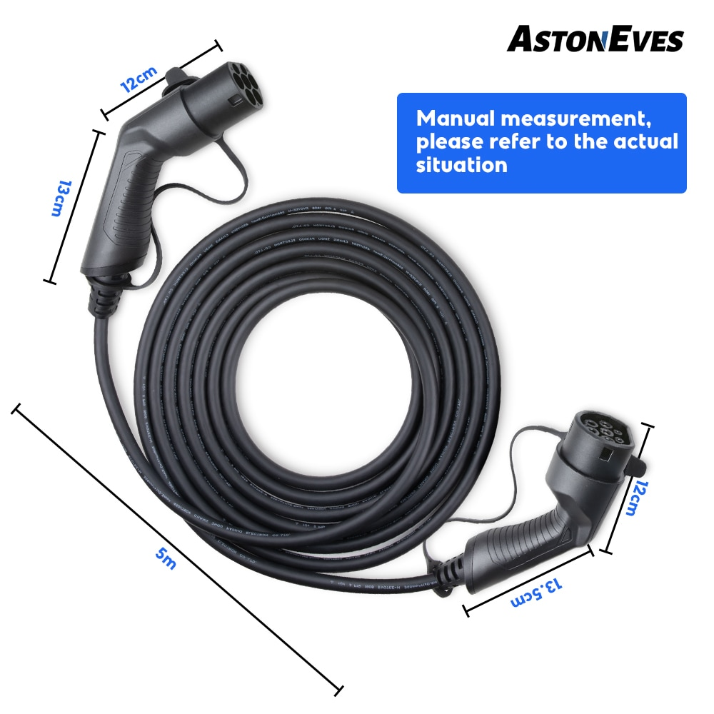 ASTON 32A 22KW 3 Phase EV Charging Cable Electric Vehicle Cord for Car Charger Station Type 2 Female to Male Plug IEC 62196 enlarge