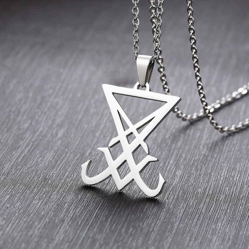 silver color Sigil Of Lucifer Pendant Satanic Symbol Stainless Steel Men Necklace Seal Of Satan Necklace Emblem Amulet Jewelry