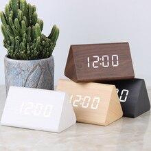 LED Digital Uhr Holz Wecker Tisch Sound Control Elektronische Uhren Desktop USB/AAA Betriebene Desperadoes Home Decor Tabelle