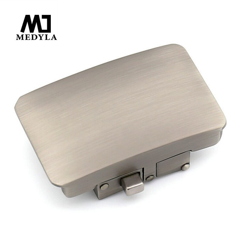 MEDYLA, cinturón de Metal duro, hebilla automática para hombre de diámetro interior 3,6 cm, hebilla de cinturón con patrón de botón para hombre, accesorios de moda