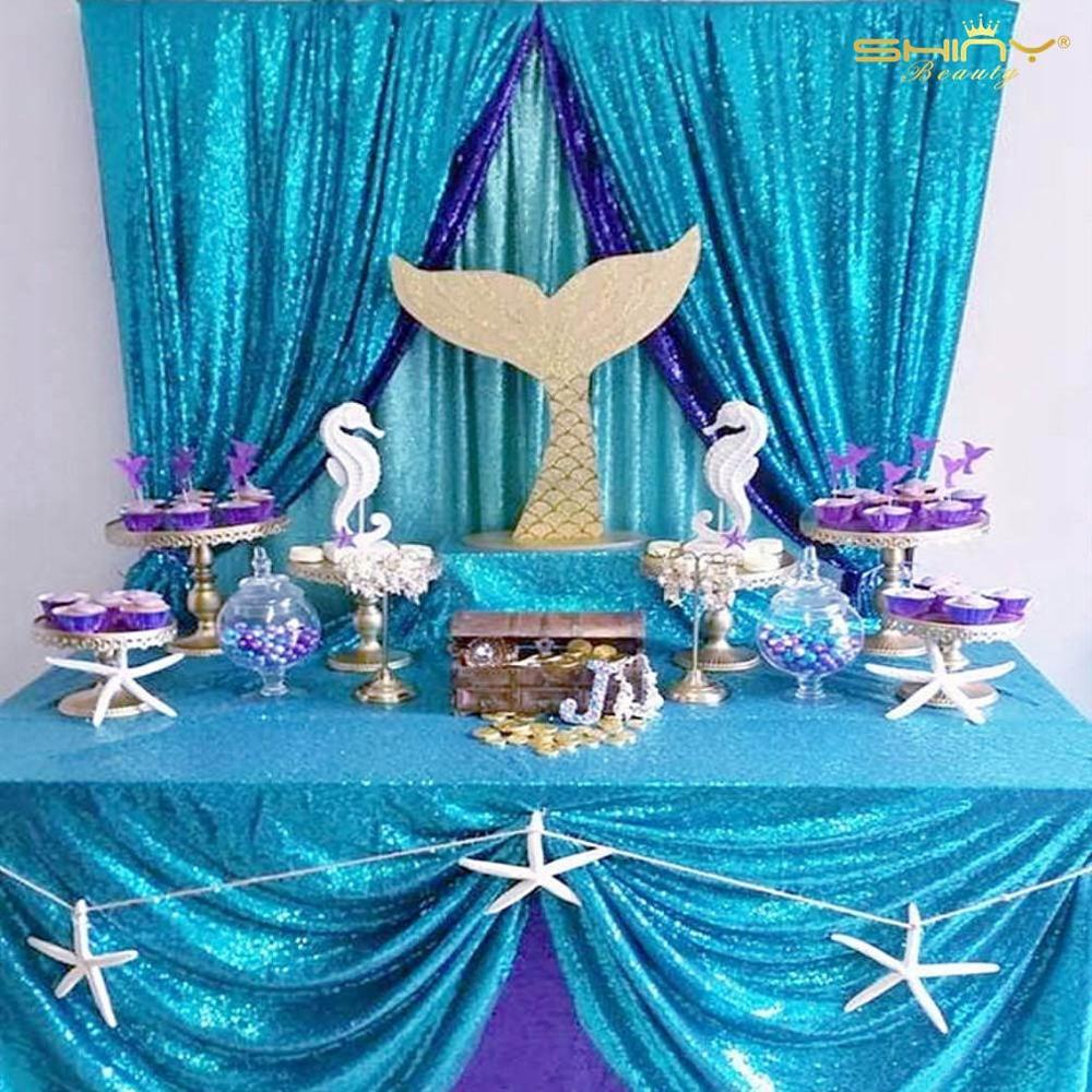 Бирюзовая скатерть 50x80 дюймов, скатерти с блестками синего цвета, тканевые скатерти для столов, для Parties-M1018