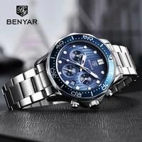 benyar mens watches top brand luxury quartz men watch 2020 sport watch for men chronograph military watch men relogio masculino