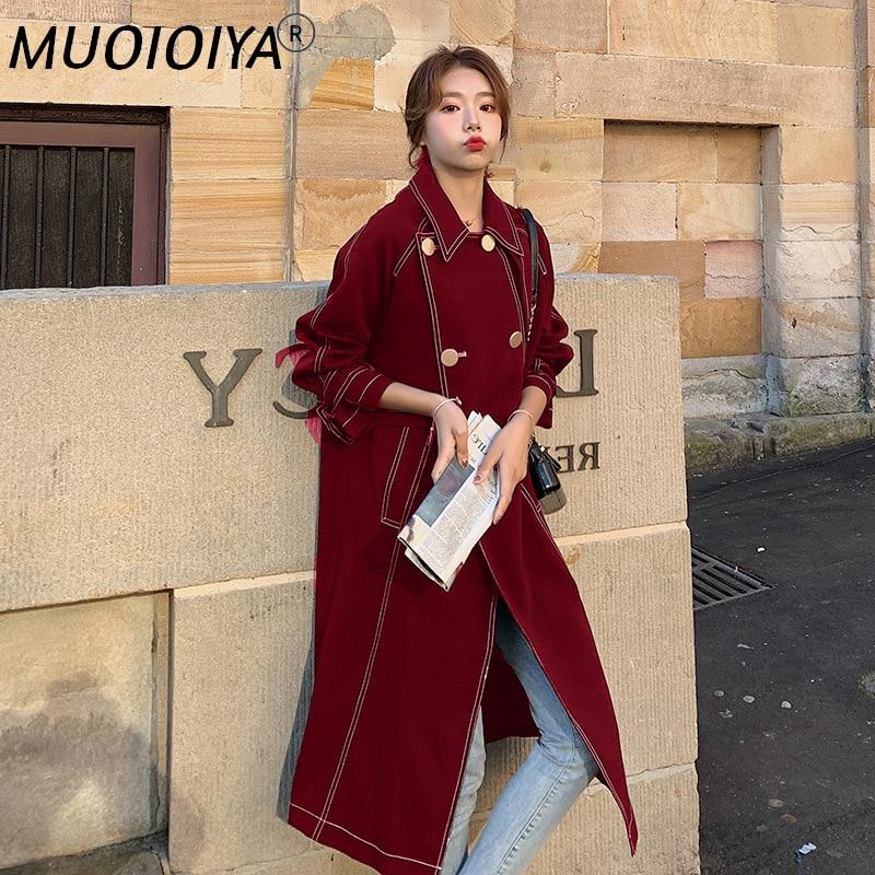 حجم كبير منتصف طول خندق معطف المرأة Vintage سترة واقية مزدوجة الصدر مع حزام 2022 جديد ربيع الخريف ملابس خارجية الإناث