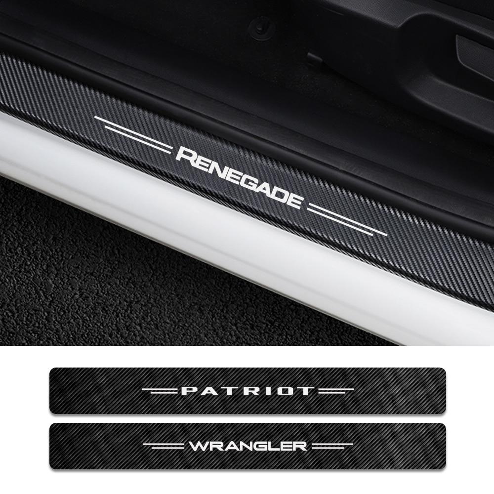 4 шт. Накладка на порог автомобиля углеродная наклейка для Jeep Renegade Wrangler JK TJ Rubicon Cherokee Patriot Trail Hawk аксессуары для компаса