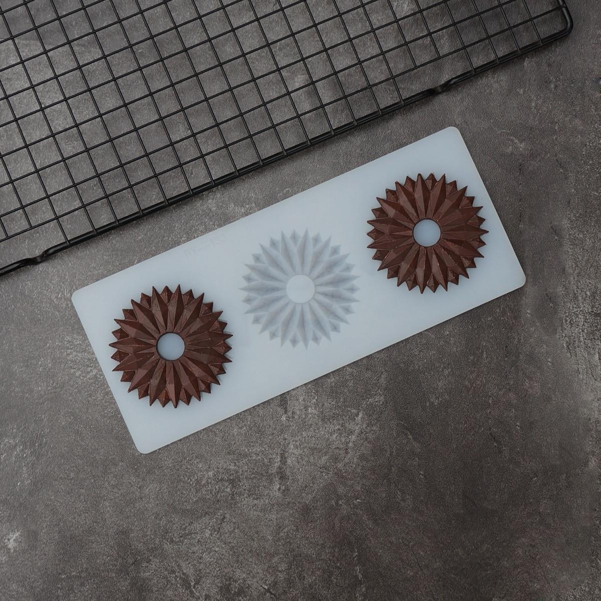Con volantes en forma de plantilla para Chocolate DIY borde zigzag círculo Chocolate pastel decoración molde de silicona Chablon