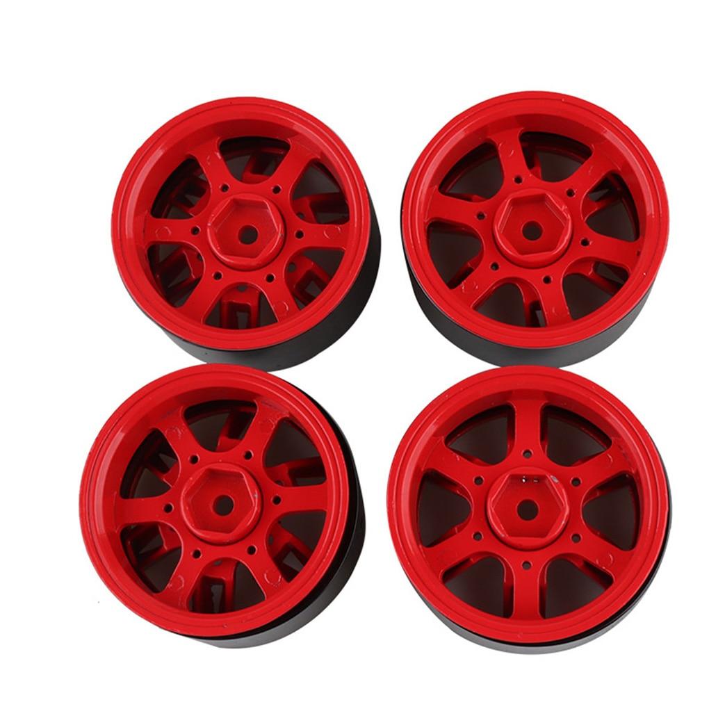 Remplacement pour 1/10 SCX10 90046 D90 TRX-4 4 pièces Rouge RC Chenille Métal Jante 1.9 Pouces BEADLOCK