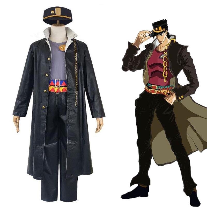 Anime jojo aventura bizarra kujo jotaro cosplay traje preto casaco jaqueta conjunto completo das mulheres dos homens festa de halloween roupas personalizadas