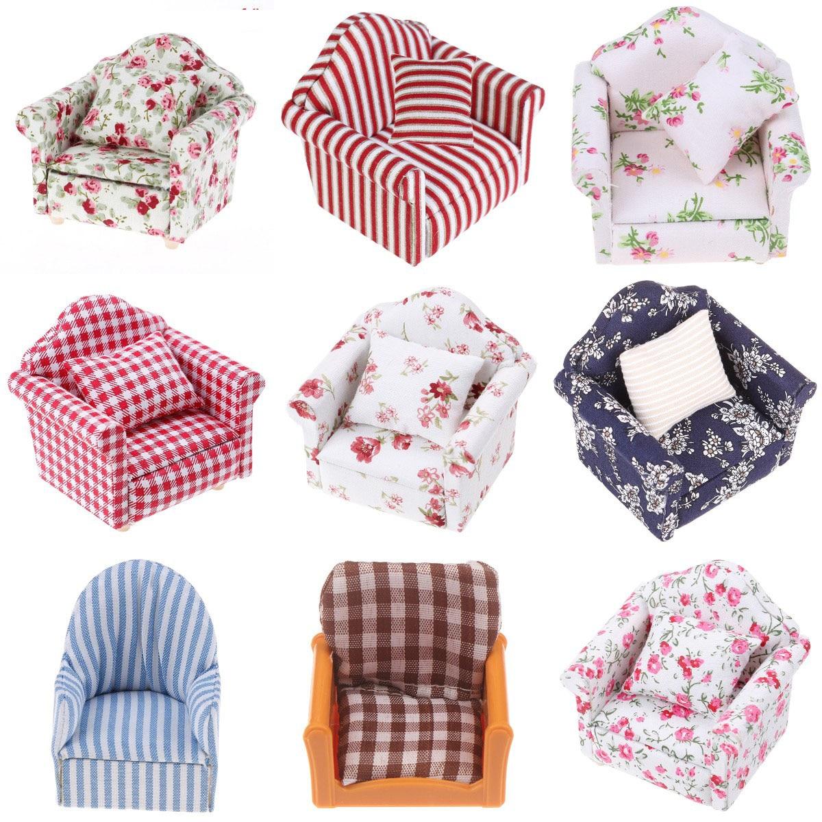 112 casa de muñecas en miniatura Mini sofá o almohadas bonitas para muñecas niños simulación casa de muñecas muebles Juguetes
