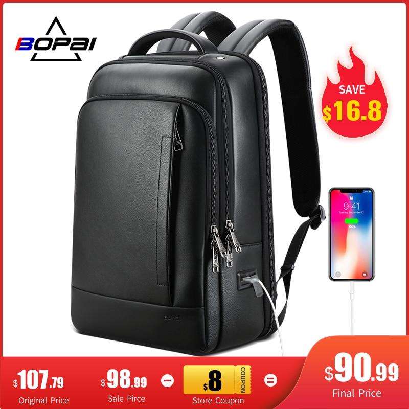BOPAI Genuine Leather Backpack Laptop Mens Business Casual Waterproof Back Pack Male Computer Bagpack Black Backpacking