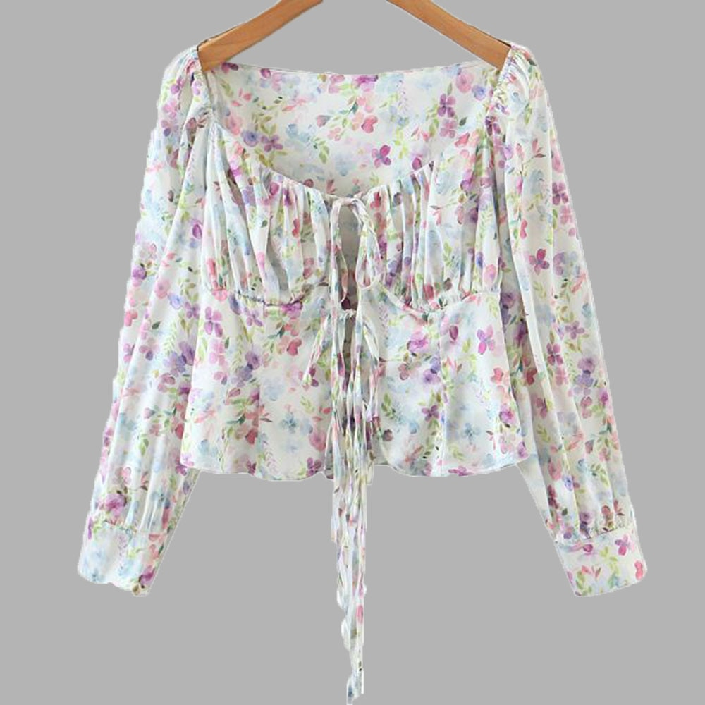 Fashion Woman Blouses 2021 Square Collar Floral Patchwork  Long Sleeve Pullovers Korean Style Girls