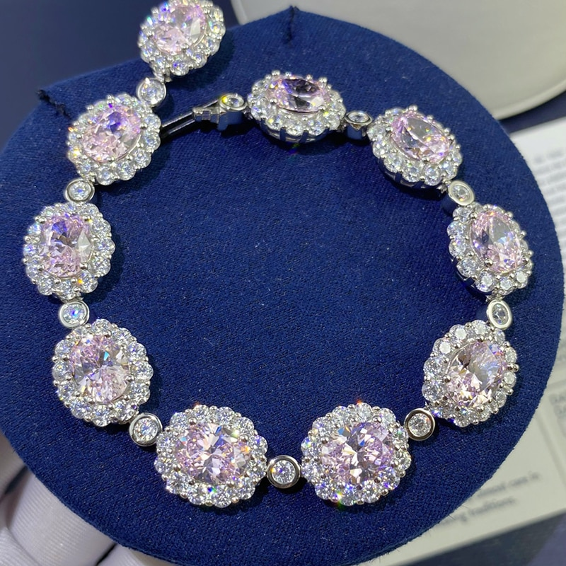 DIMINGKE 6*8MM Pink High Carbon Diamond 17CM Bracelet 100%-S925 Sterling Silver Wedding Party Lover Jewelry Gift