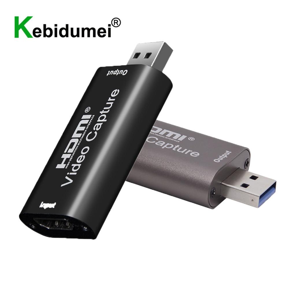 [해외] 1080P 60Fps 캡처 카드 4K HDMI-USB 3.0 2.0 호환 비디오 그래버 레코드 박스, PS4 게임 레코딩 라이브 스트리밍 보드
