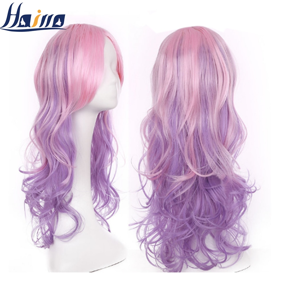 HAIRRO 24inch Long Wavy Synthetic Wigs Ombre Pink Purple Wigs For Women Cosplay Natural With Bangs Wig High Temperature Fib