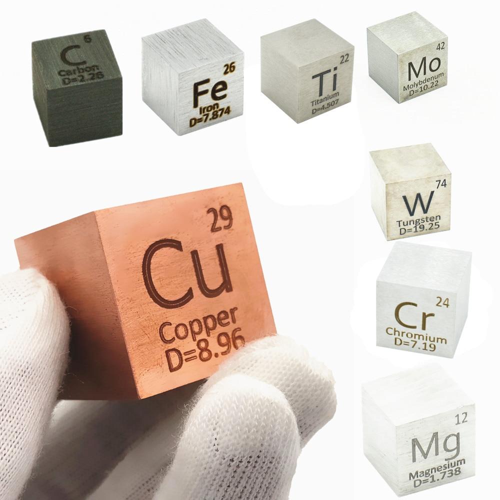 ElementDistillation Cube 25.4mm 1 Inch Periodic Table Density Cubes Collection Copper Lead Bi Tin Al Titanium Tungsten Mo C Ni недорого