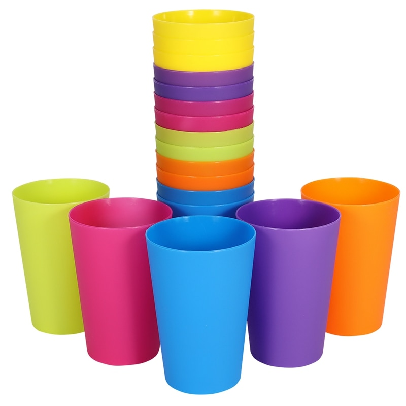 18 Pcs/set 6 Colors Plastic Rainbow Cups Portable Reusable Picnic Travel Water Mugs Trendy Funny Kids Drink Cup Kit